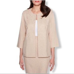 Alfred Dunner Petite Tan Solid Jacket